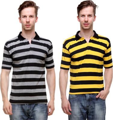 Grand Bear Striped Men's Polo Neck Reversible Black, Yellow T-Shirt