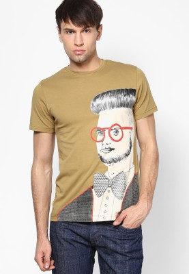 Zeco Graphic Print Men's Round Neck Beige T-Shirt