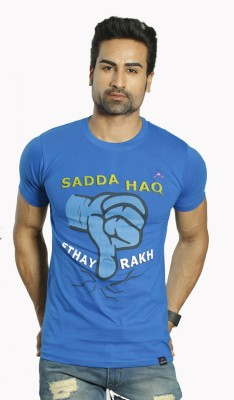 ALBITEN Printed Men's Round Neck Blue T-Shirt