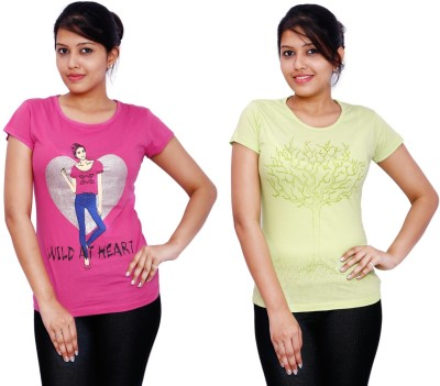 Fine Colors Printed Women's Round Neck Pink, Light Green T-Shirt