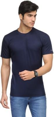Vicbono Solid Men's Round Neck Dark Blue T-Shirt