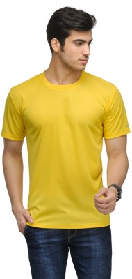 Vicbono Solid Men's Round Neck Yellow T-Shirt