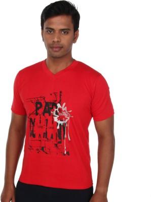 John Caballo Printed Men's V-neck Red T-Shirt