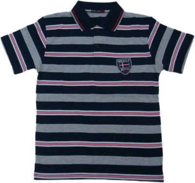 Miracle Striped Men's Polo Neck Dark Blue T-Shirt