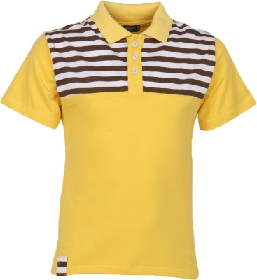 Cool Quotient Self Design Boy's Polo Yellow T-Shirt