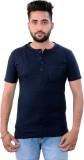 Martech Solid Men's Henley Blue T-Shirt