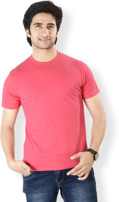 Neevov Solid Men's Round Neck Red T-Shirt