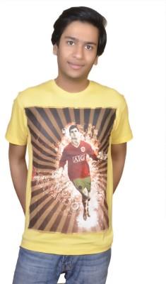 Inez Printed Men's Round Neck Yellow T-Shirt