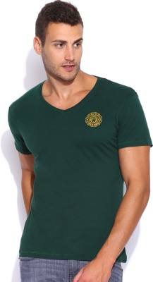 Wrangler Solid Men's V-neck Dark Green T-Shirt