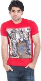 Zulements Printed Men's Round Neck Red T...
