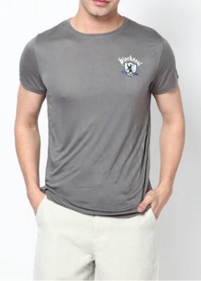 Blacksoul Solid Men's Round Neck Grey T-Shirt