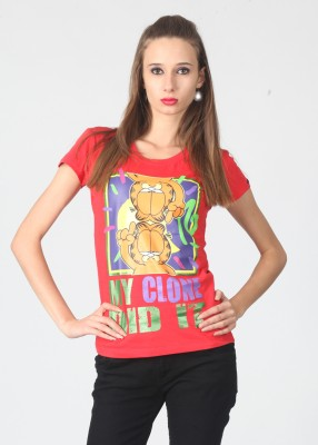 Garfield Printed Women's Round Neck Red T-Shirt