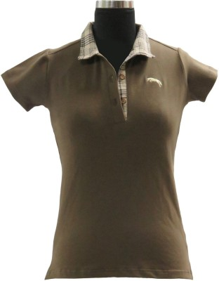 JUMP USA Embroidered Women's Polo Brown T-Shirt