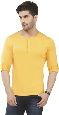 Nick & Jess Solid Men's Henley Yellow T-Shirt