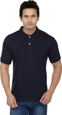 Kaar Solid Men's Polo Neck Blue T-Shirt