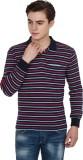 Yuvi Striped Men's Polo Neck Blue T-Shir...