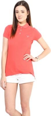 Calgari Solid Women's Polo Neck Pink T-Shirt