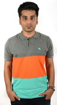 Mozine Striped Men's Polo Neck Multicolor T-Shirt