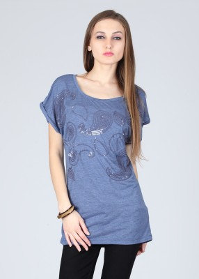 Remanika Printed Women's Round Neck Blue T-Shirt