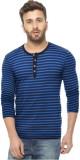 Avenster Sport Striped Men's Henley Blue...