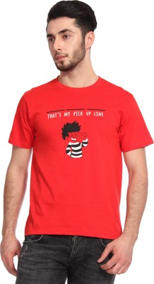 Knotees Printed Men's Round Neck Red T-Shirt