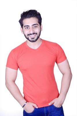 Strak Solid Men's V-neck Red T-Shirt