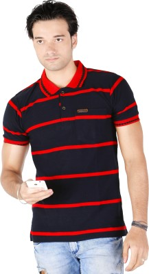 Yellow Dots Striped Men's Polo Red T-Shirt
