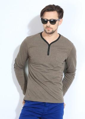 Breakbounce Solid Men's Henley Black, Brown T-Shirt