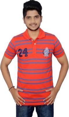 Lemon Slice Striped Men's Polo Neck Red, Blue T-Shirt