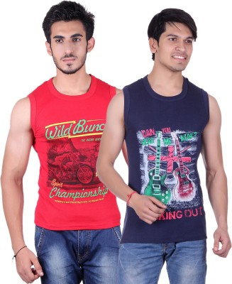 White Moon Printed Men's Round Neck Red, Blue T-Shirt