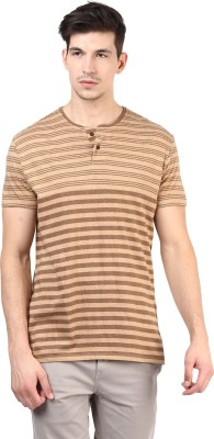 T-shirt Company Striped Men's Round Neck Brown T-Shirt