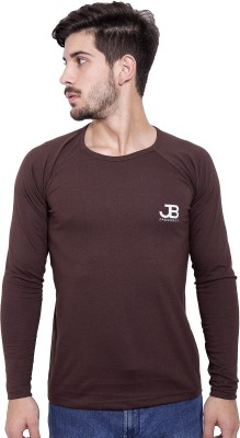 Jangoboy Solid Men's Round Neck Brown T-Shirt