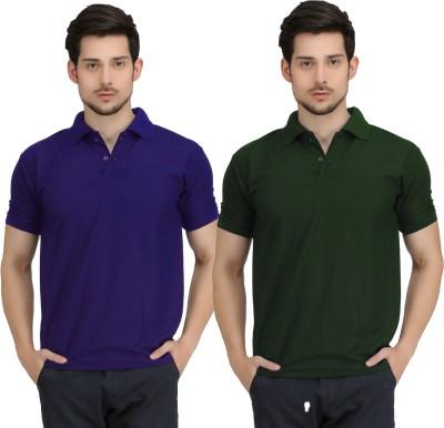 Krazy Katz Solid Men's Polo Neck Blue, Dark Green T-Shirt