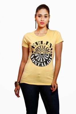 Yaari V4c Self Design Women's Round Neck Yellow T-Shirt