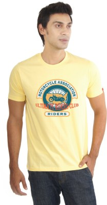 Lacrafters Graphic Print Men's Round Neck Yellow T-Shirt