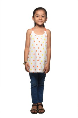 STOP by Shoppers Stop Polka Print Girl's Round Neck White T-Shirt