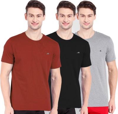 2go Solid Men's Round Neck Black, Grey, Orange T-Shirt