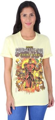 Planet Superheroes Graphic Print Women's Round Neck Yellow T-Shirt