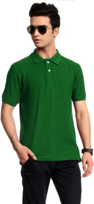 Brohood Solid Men's Polo Neck Green T-Shirt