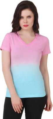 House Of Fett Self Design Women's V-neck Pink, Light Blue T-Shirt