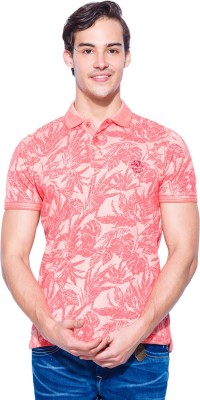 Mufti Floral Print Men's Polo Neck Red T-Shirt