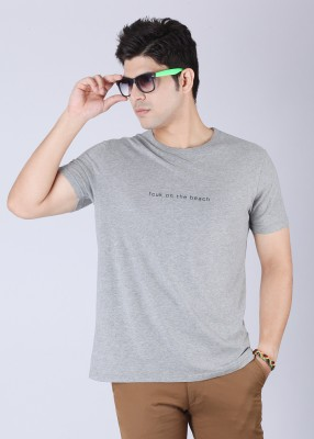 French Connection Solid Men's Round Neck Grey T-Shirt