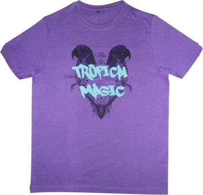 Guddi Creation Graphic Print Men's Round Neck Purple T-Shirt