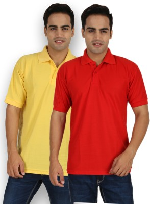 Larwa Solid Men's Polo Neck Yellow, Red T-Shirt