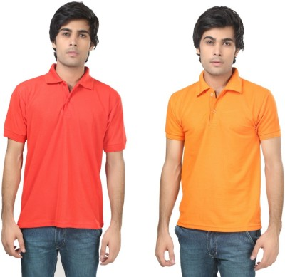 Stylish Trotters Solid Men's Polo Red, Orange T-Shirt