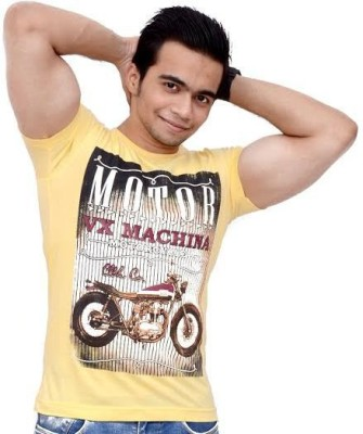 Siddique Collection Graphic Print Men's Round Neck Yellow T-Shirt