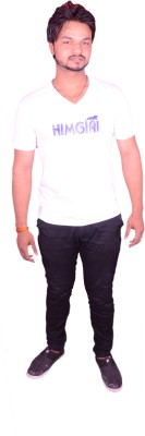 HIMGIRI Printed Men's Round Neck White T-Shirt