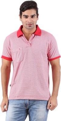 Furore Striped Men's Polo Neck Red T-Shirt
