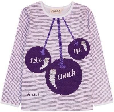 Aristot Striped Girl,s Round Neck Purple T-Shirt