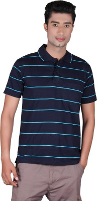 Cute Collection Striped Men's Polo Neck Blue T-Shirt